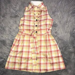 Belted Silk plaid dress with button front
